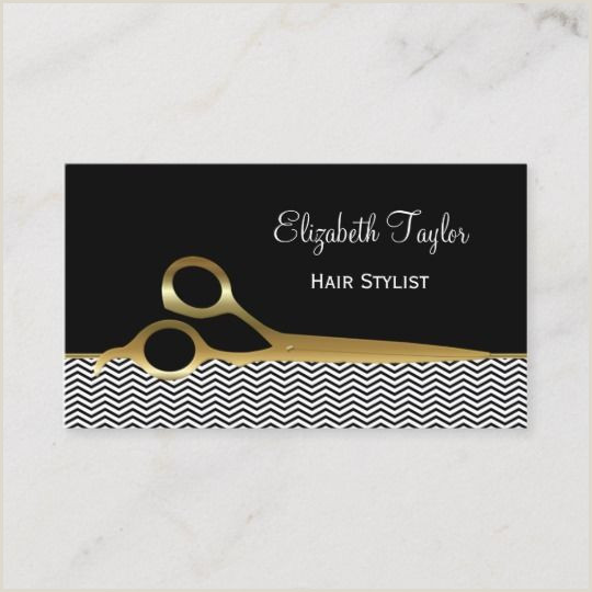 Unique Business Cards For Hairstylist Elegant Black And Gold Chevrons Hair Salon Business Card