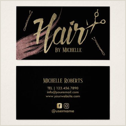 Unique Business Cards For Hairstylist Hair Stylist Modern Gold Script Rose Gold Hair Business Card