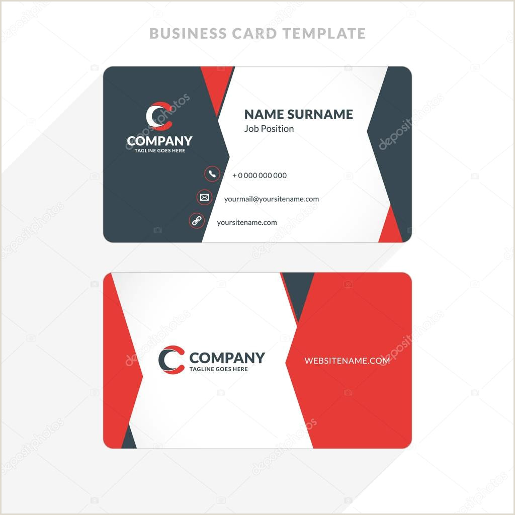 Unique Business Cards Front And Back Creative And Clean Double Sided Business Card Template Red And Black Colors Flat Design Vector Illustration Stationery Design