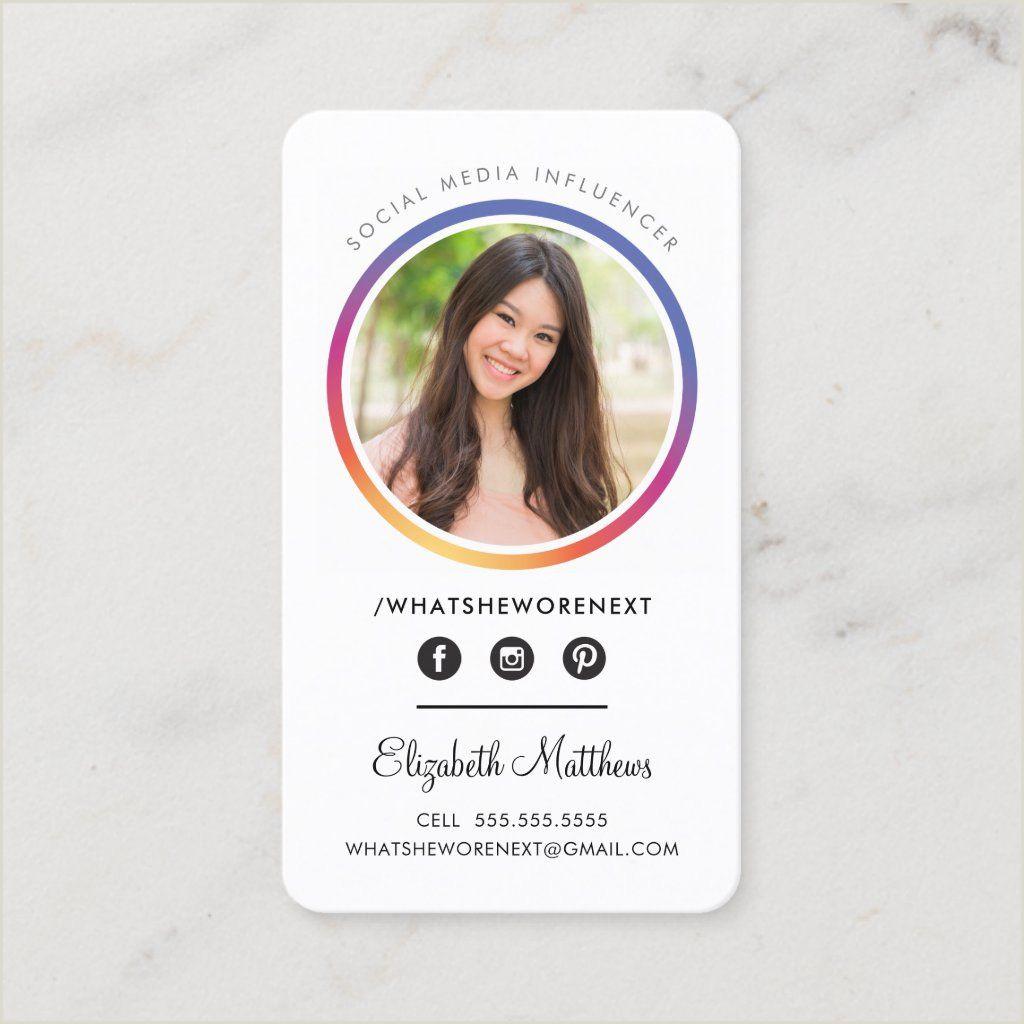 Unique Business Cards Headshot Photo Social Media Instagram Headshot Circle Business Card