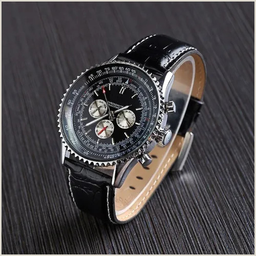 Unique Business Cards Mechanical Luxury Brand Men Automatic Mechanical Watch Casual Leather Strap Watch Mens Business Wrist Watch Sport Watches 1pc Vova