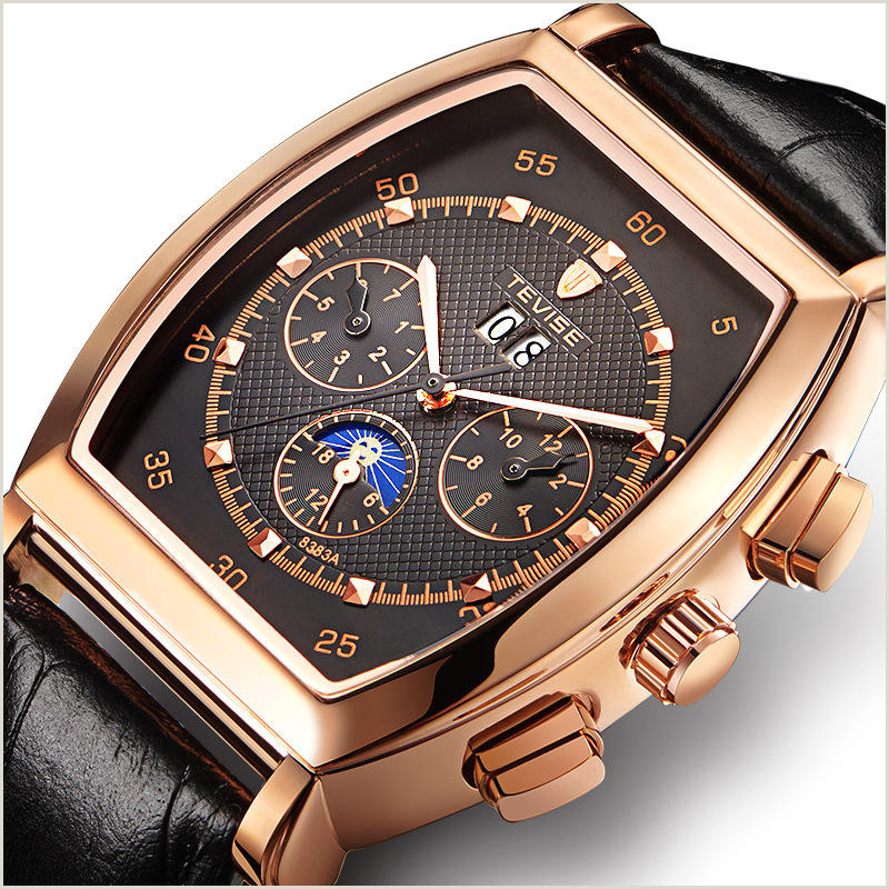 Unique Business Cards Mechanical Tevise 8383a Week Date Display Automatic Mechanical Watch Business Style Men Wrist Watch