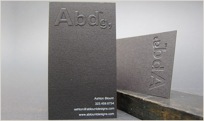 Unique Business Cards Nyc Embossed Logo Business Card Black Letterpress White