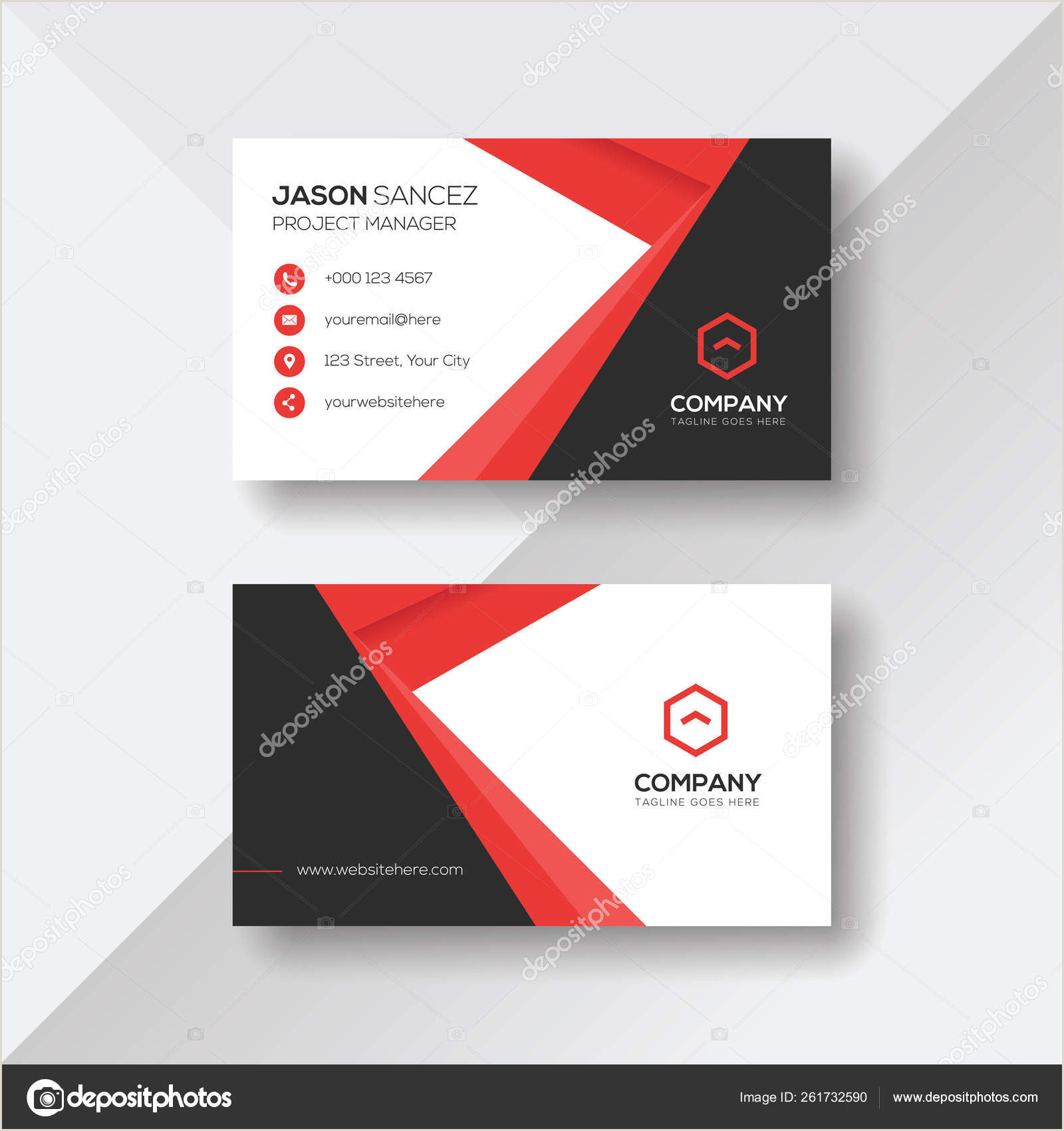 Unique Business Cards' Professional Modern Business Card With Red Details