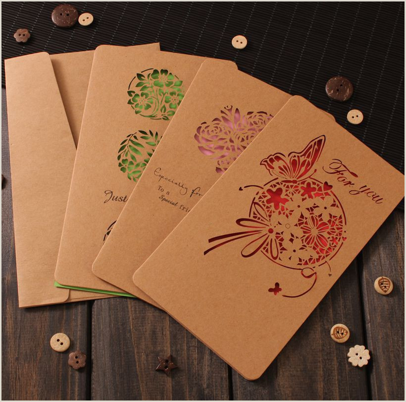 Unique Business Greeting Cards Retro Greeting Card Carved Kraft Paper Hollow Butterfly Business Holiday Birthday Wedding Flower Shop Card With Envelope Greeting Birthday Cards