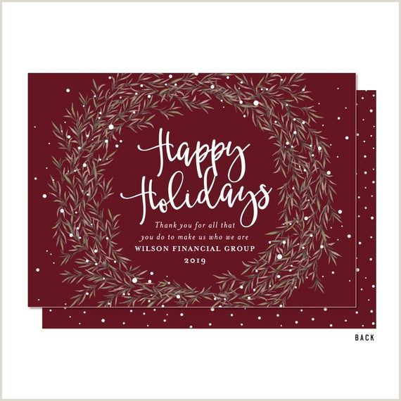 Unique Business Holiday Greeting Cards Burgundy Wreath Happy Holiday Business Christmas Cards