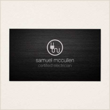 Unique Electrician Business Cards Electrician Electric Plug Icon Brushedmetal Skills Business