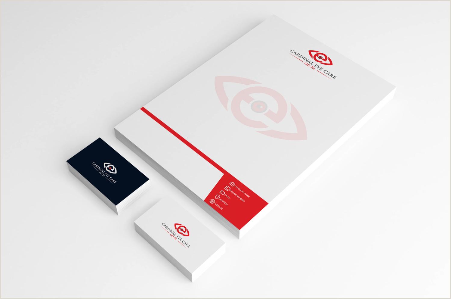 Unique Eyecare Business Cards Serious Professional Health Care Logo Design For Cardinal