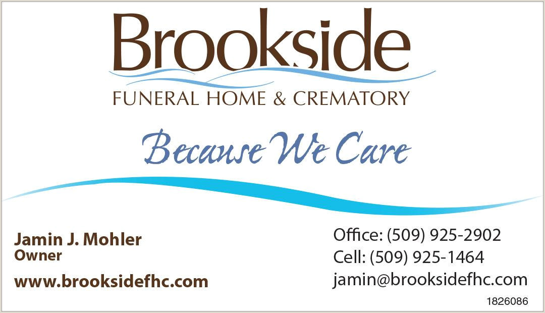 Unique Funeral Home Business Cards Brookside Funeral Home