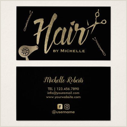 Unique Hair Salon Business Cards Hair Stylist Black & Gold Typography Beauty Salon Business