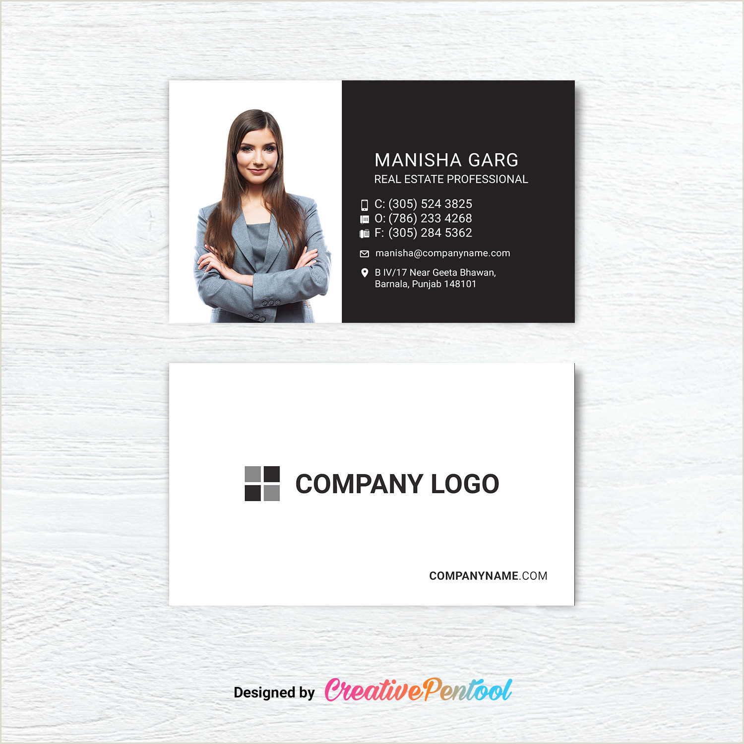 Unique Headshot Business Cards Business Card For Agent With Headshot Creativepentool