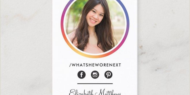 Unique Headshot Business Cards Photo social Media Instagram Headshot Circle Business Card