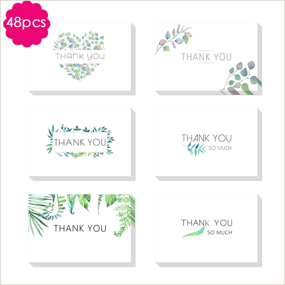 Unique Holiday Business Greeting Cards Pack Thank You Cards With Envelope Green Leaves Greeting Cards Notes For Wedding Baby Shower Bridal Bussiness Anniversary Business Holiday Greeting