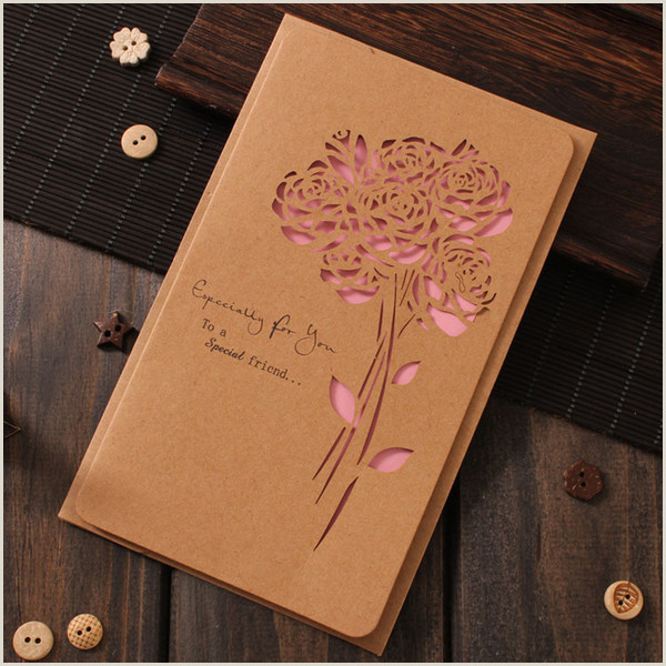 Unique Holiday Business Greeting Cards Retro Greeting Card Carved Kraft Paper Hollow Butterfly Business Holiday Birthday Wedding Flower Shop Card With Envelope Greeting Birthday Cards