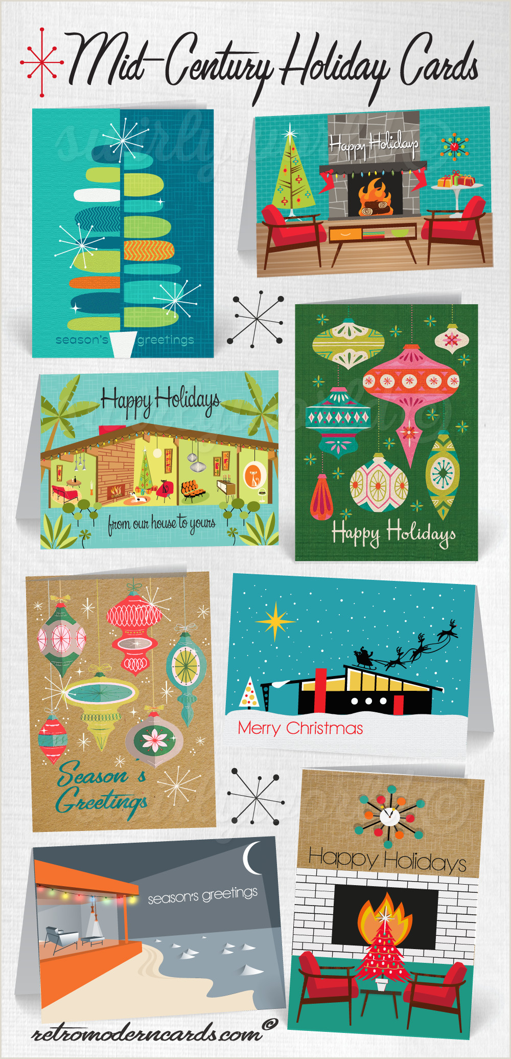 Unique Holiday Business Greeting Cards Retro Mid Century Modern Christmas Holiday Cards 1950 S