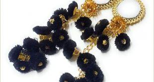 Unique Jewelry Business Cards Handmade Ethnic Cotton Hanging Latkan Golden Black Pompom Bell Tassel Blouse Saree Lehenga for Women Pack Of 2