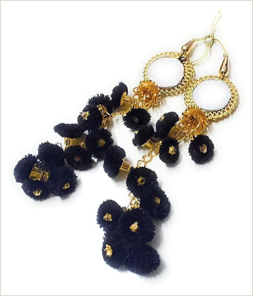 Unique Jewelry Business Cards Handmade Ethnic Cotton Hanging Latkan Golden Black Pompom Bell Tassel Blouse Saree Lehenga For Women Pack Of 2