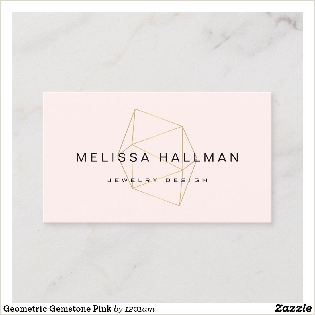 Unique Jewelry Business Cards Modern Geometric Gemstone Pink Business Card