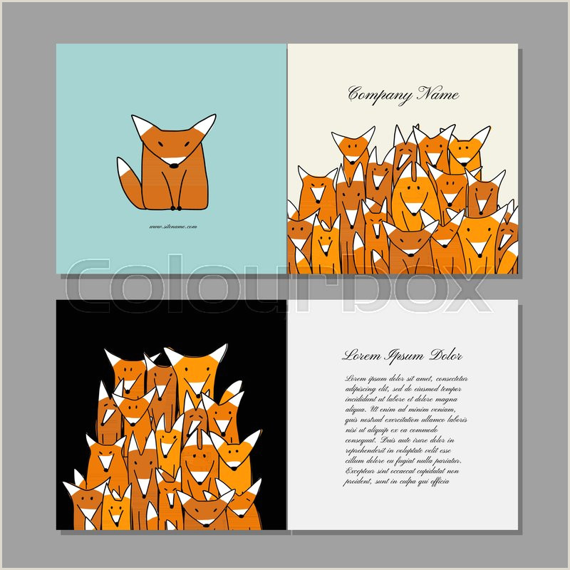 Unique Relief Business Cards Fox Business Cards Design Funny Fox Stock Vector