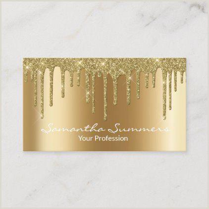 Unique Sparkle Business Cards Gold Drips Black Elegant Unique Metal Look Business Card