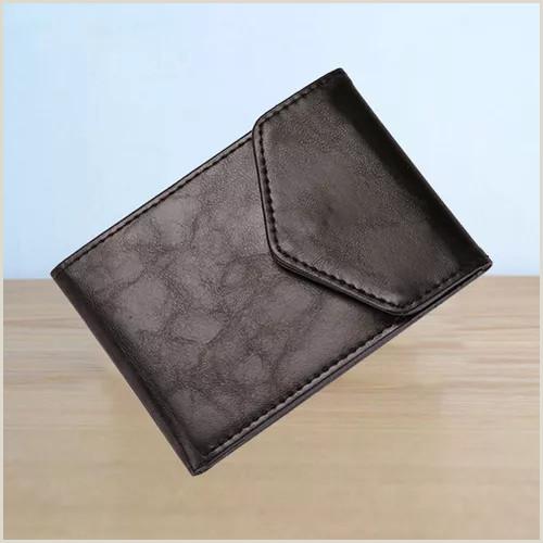 Unique Style Business Cards Men Business Style Slim Wallet Unique Simple Small Size Wallet Buckle Designed Wallet Card Socket Black Color Vova