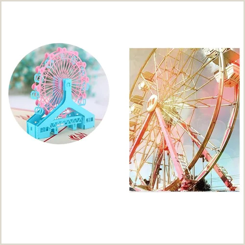 Unique Travel Business Cards Ferris Wheel 3d Cards Handmade Birthday Card Greeting Card Festival Business Cards Creative Tourism Memorative Gifts Vova