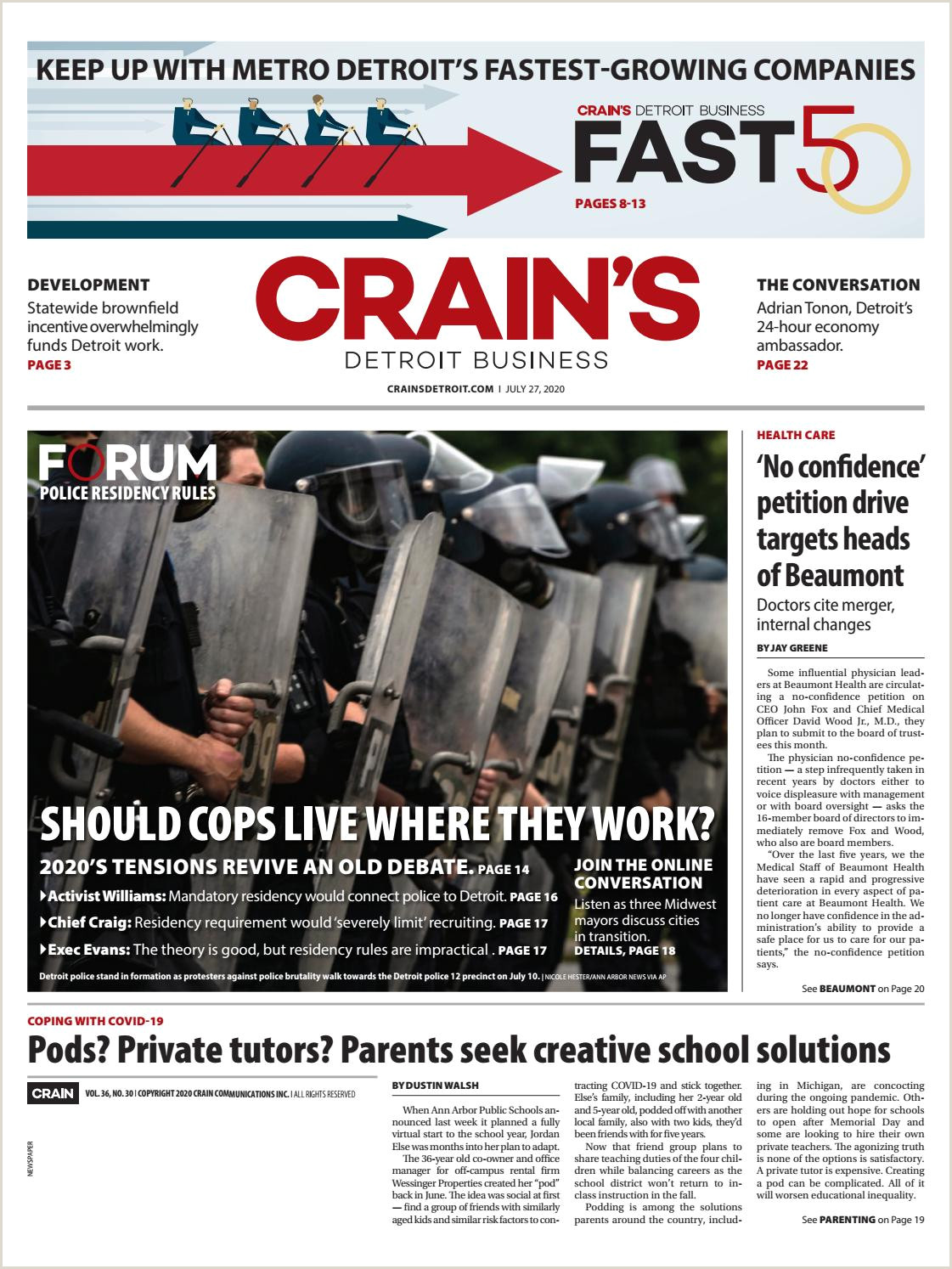 Usiness Cards Crain S Detroit Business July 27 2020 Issue By Crain S