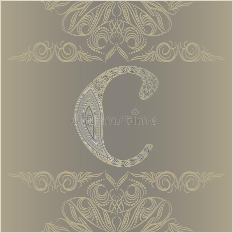 Vertical Business Card Inspiration Business Card Monogram Emblem Letter C Template Design