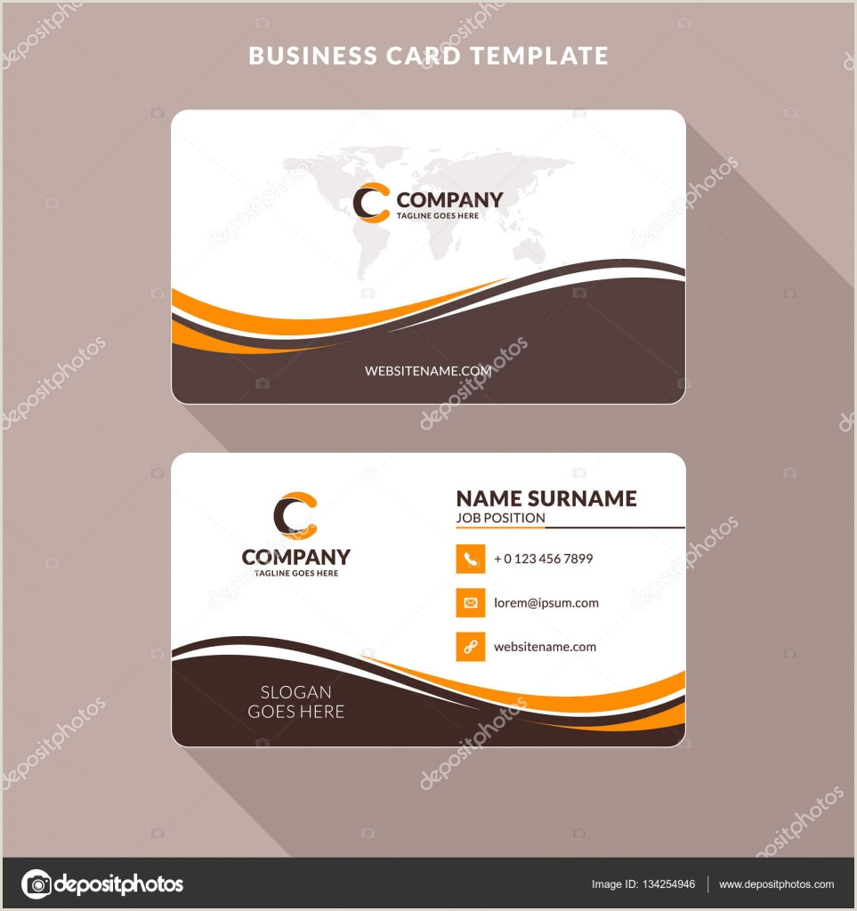 Visiting Card Designs Creative And Clean Double Sided Business Card Template Orange And Brown Colors Flat Design Vector Illustration Stationery Design
