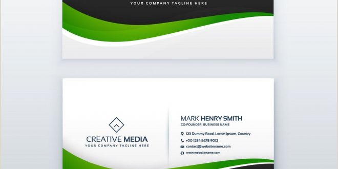 Visiting Card Sample Green Business Card Professional Design Template with