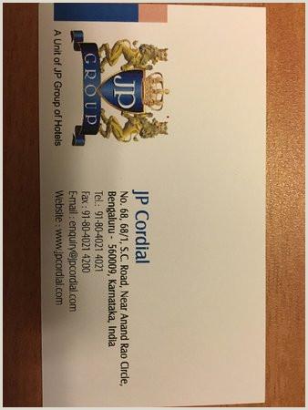 Visiting Card Visiting Card Picture Of Jp Cordial Bengaluru Tripadvisor