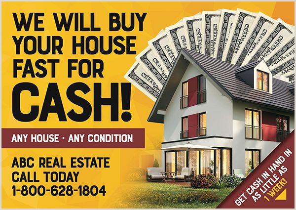 We Buy Houses Business Card Templates Real Estate Investor Postcard Design