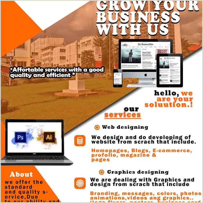 Website Business Card Ab I T Solutions Graphics Web And Repair Worksshop In Arusha