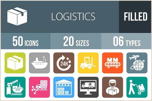 Website Icon For Business Card 50 Logistics Flat Round Corner Icons