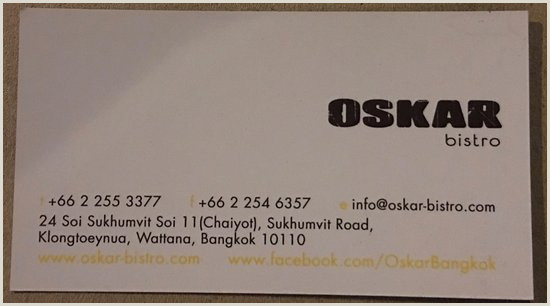 What Is A Business Card The Business Card Picture Of Oskar Bistro Bangkok