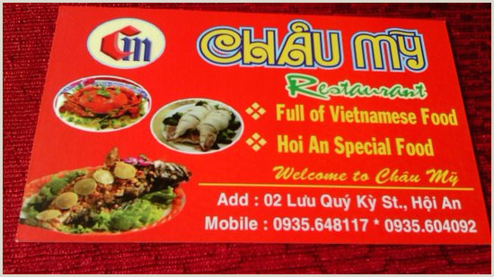 What Should Be On My Business Card Business Card Picture Of Chau My Restaurant Hoi An