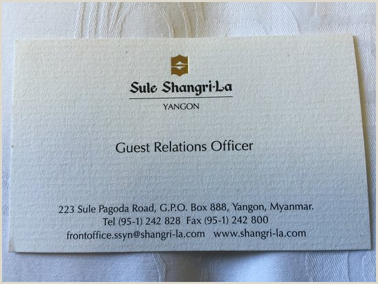 What To Have On A Business Card Business Card Picture Of Sule Shangri La Yangon Yangon