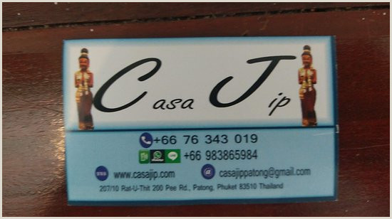 What To Put On Business Card Hotel Business Card Picture Of Casa Jip Guesthouse Patong