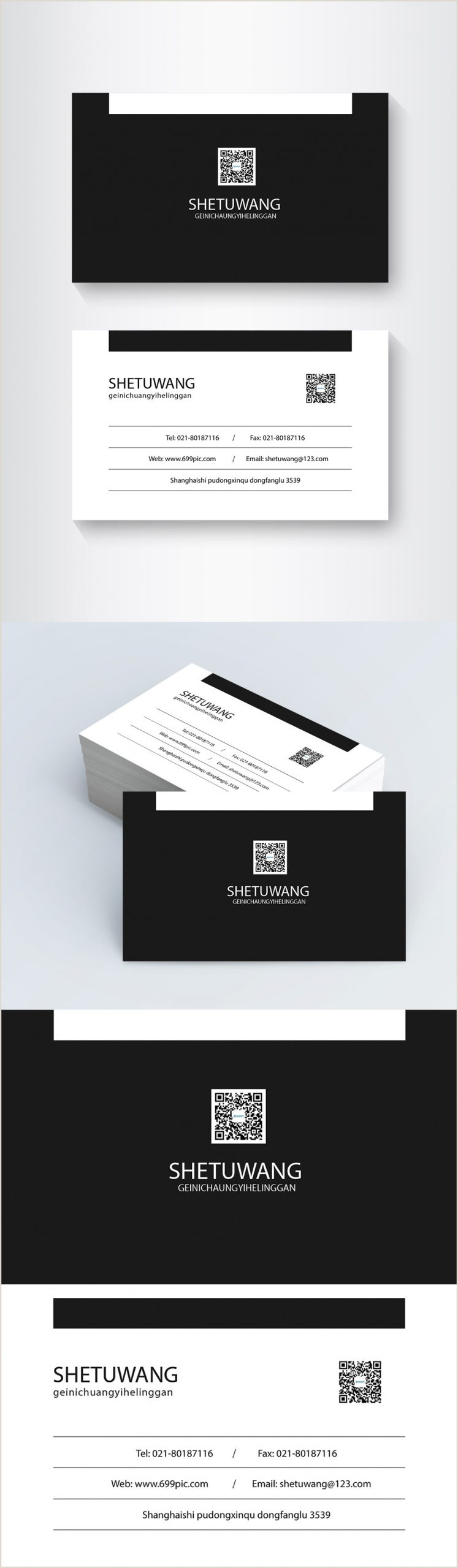 White Business Card Template Black And White Simple Business Card Design Template